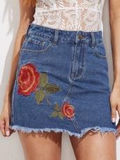 skirt,girly,denim,denim skirt,frayed denim,frayed denim skirt,embroidered