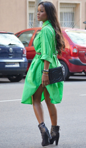 dress shirt dress green fashion spring fashion spring neon bright girly cute long sleeve belted dress