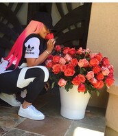 shirt,blac chyna,black and white,adidas,t-shirt,top,pants,adidas outfit,outfit,leggings