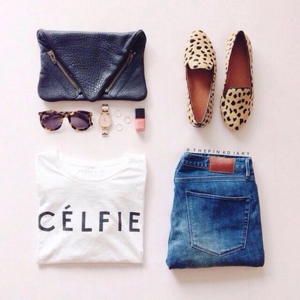 t-shirt jeans wallet bag sunglasses shoes