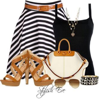 blouse bag striped skirt sandals tank top bangle black white sunglasses