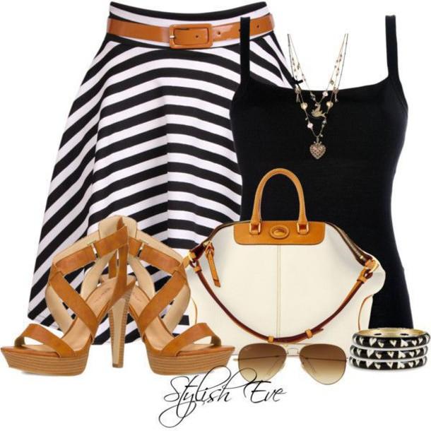 blouse bag striped skirt sandals tank top bracelets black white sunglasses