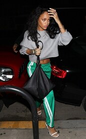 rihanna,tom ford,isabel marant,bag,givenchy,sweatpants,cropped sweater,grey sweater,crop,cropped hoodie