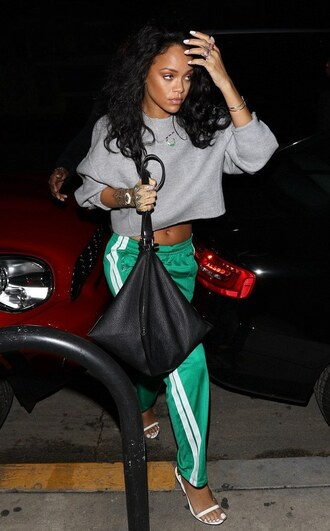 rihanna tom ford isabel marant bag givenchy sweatpants cropped sweater grey sweater