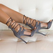 party shoes,sexy shoes,strappy shoes,strappy sandals,taupe,shoes,grey,heels,high heels,style,strappy,lace up,stilettos,high heel sandals,strappy heels,grey heels,gray lace up heels,suede heels,open toes,open toes high heel,cute,lace up heels,sandals,going out,fancy,fashion,gladiators,grey heels strappy,straps,grey shoes