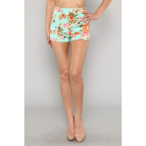 women's high waisted mint floral vintage style shorts