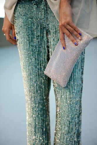 pants sequin pants green pants sequins metallic clutch metallic clutch new year's eve shiny glitter