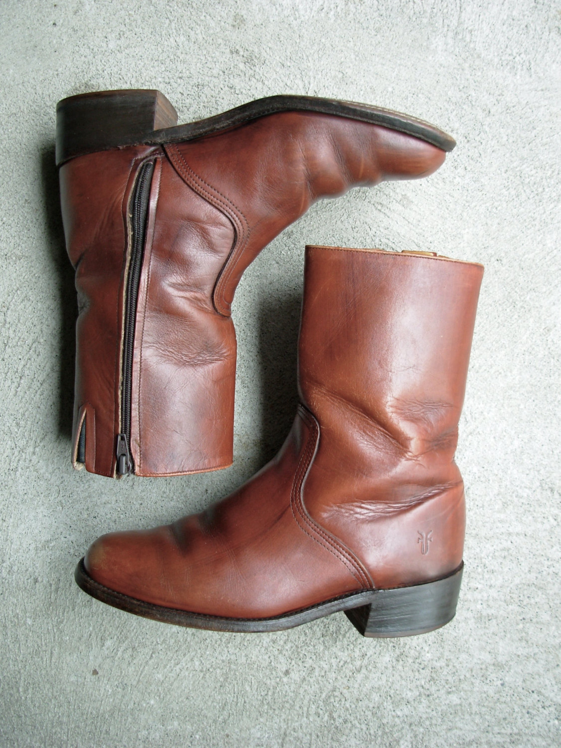 a7f22578f63bd Vintage 70's Frye brown boots, Frye boots, cowboy / motorcycle boots, size  8 / 7.5