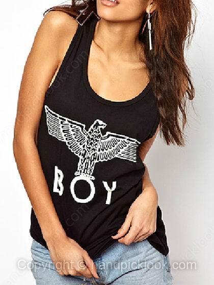 Black sleeveless eagle boy print vest