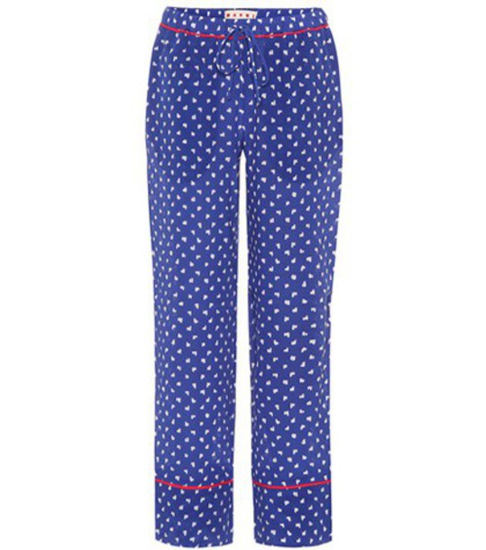 MARNI silk blue pants