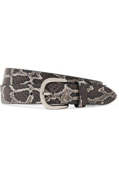 snake belt leather beige