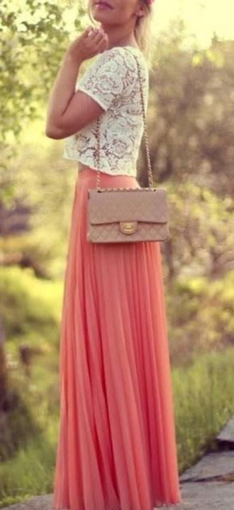 skirt peach skirt pleated skirt maxi skirt bag