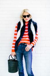 luella & june,blogger,sweater,scarf,jeans,bag,shoes,fur scarf,turtleneck sweater,handbag,winter outfits,simon miller bag