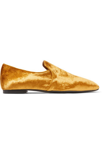 loafers gold velvet shoes