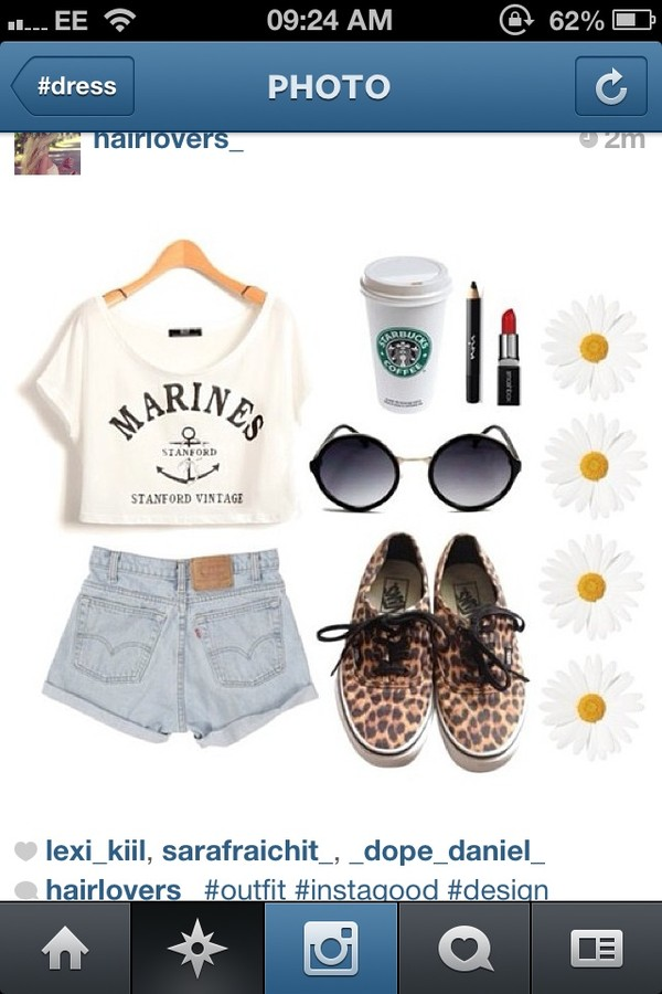 shorts denim crop tops white vans cream t-shirt shoes sunglasses