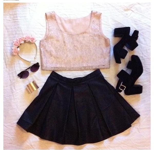 Tank Top Pink Black Top Cute Gorgeous Material Sleeveless - Wheretoget