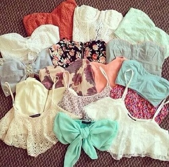 top tank top crop short bra bralete turquoise white lace bow sexy cute teenagers red pink floral flowers studs embellishment pearl straps strappy strapless blue elastic elastic acted