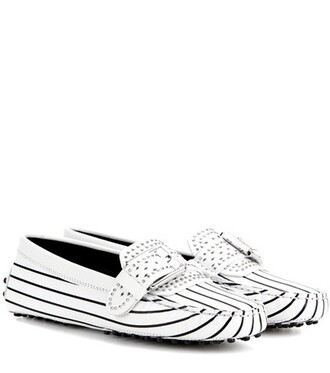 embellished loafers leather white shoes