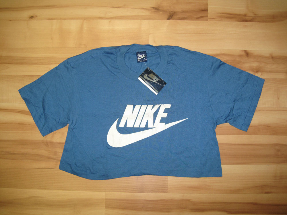 Vtg nike crop top shirt sz l cut off top deadstock nwt blue tag pinwheel rayon