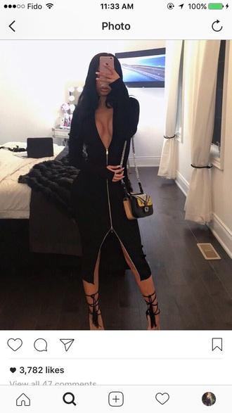 dress black dress zipper dress long sleeves midi dress