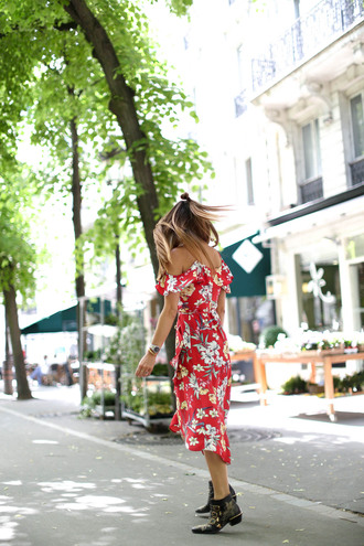 dress tumblr midi dress red dress floral floral dress boots black boots ankle boots shoes