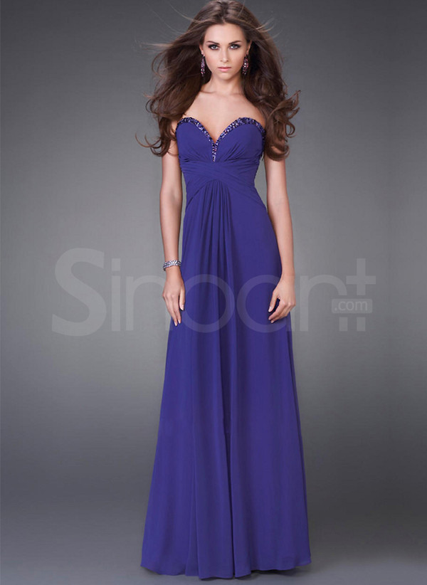 dress for formal evening floor length with sequins royal bule