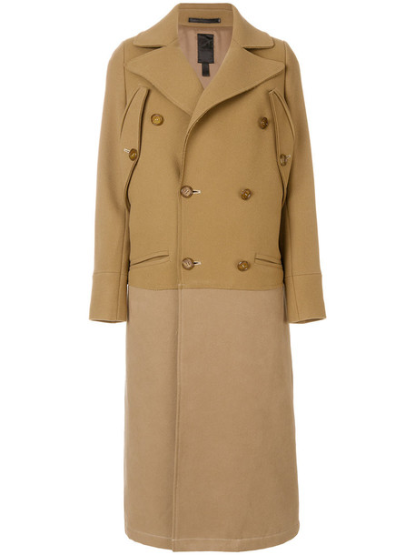 coat long coat double breasted long women cotton wool brown