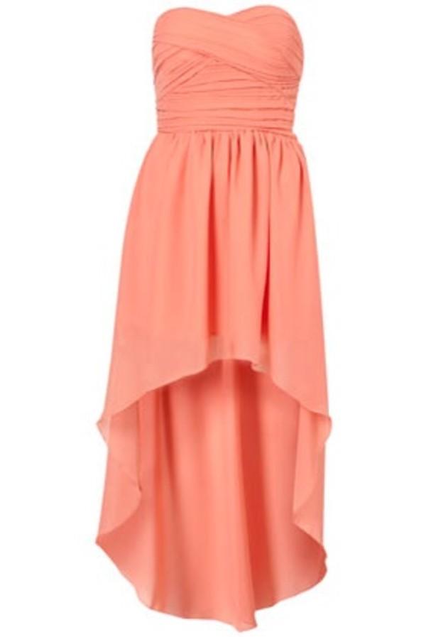 dress rare london high low dress peach dress