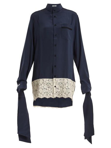 blouse shirtdress oversized silk navy dress