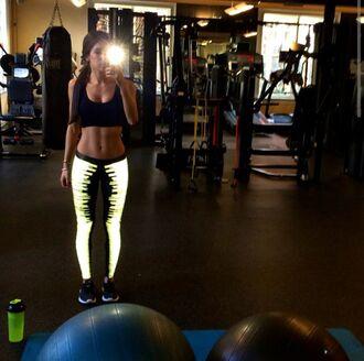pants jen selter leggings tights workout pants reflective bright sportswear