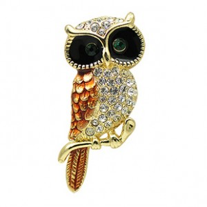Standing Golden Vintage Owl Brooch -- Zoodey Jewelry