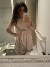 long sleeves,sheer,pink dress,beige dress,dress
