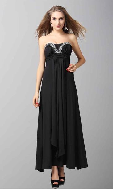 Black Dress Sexy Dress Empire Waist Dress High Low Prom Dresses