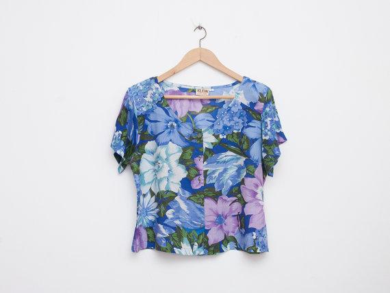 NOS Vintage Crop Top Floral Blau Hemdgröße M von blessthatdress