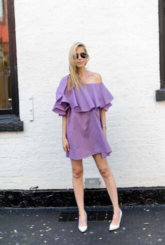 yael steren blogger dress shoes jewels sunglasses make-up nail polish off the shoulder purple dress mini dress aviator sunglasses ruffle white heels