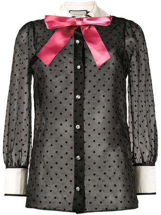 shirt bow women black silk top