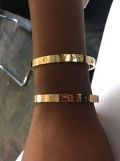 jewels,bracelets,gold,home accessory,love bracelet,kylie jenner cartier love ring