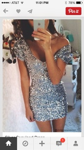 dress,sequin dress,sequins,silver glitter,glitter dress,glitter,hot
