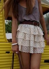 dress,high waisted,ruffle,white,lace,white lace,pretty,cute,short dress,classy,belt,skirt,cream,white lace skirt,blouse,white skirt