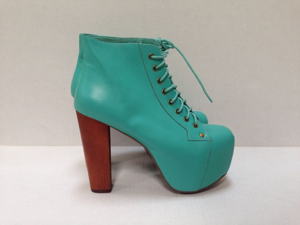 Jeffrey Campbell Lita Turquoise Leather Platform Boot Booty Heel Sz 8 New