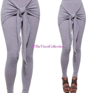 gray pantsweaters joggers knot high waisted pants tights