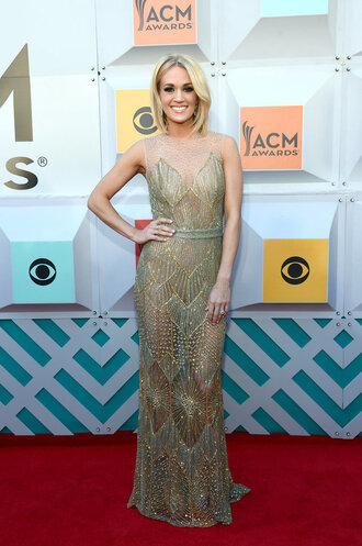 dress gold gown prom dress wedding dress carrie underwood long prom dress red carpet see through dress see through