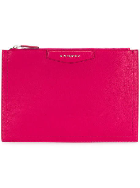 Givenchy women clutch leather purple pink bag