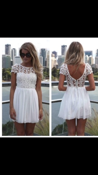 dress white floral crochet lace white dress summer fashion