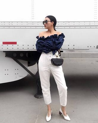 shoes pants white pants mules white mules off the shoulder off the shoulder top black t sunglasses bag