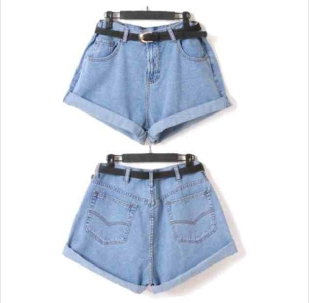 Shorts: light blue shorts, high waisted denim shorts, black belt ...