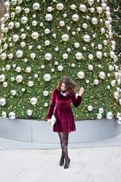 champagne&citylights,blogger,dress,tights,shoes,bag,jewels,velvet dress,clutch,high heel pumps,pumps