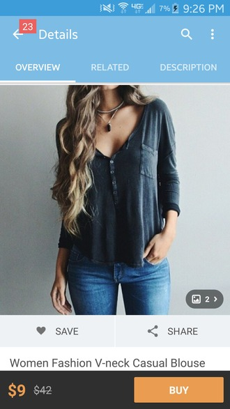top grey t-shirt button up baggy shirt cute boho blouse v neck
