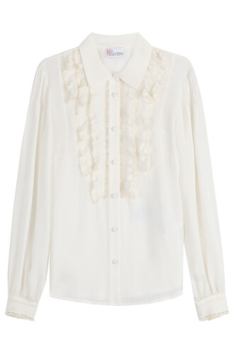 blouse ruffle lace silk white top