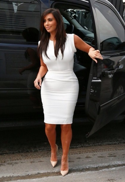 Hope, Kim kardashian in white dresses directly. can